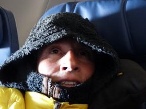 Erg koud in het vliegtuig