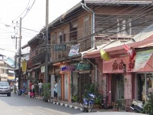 Teak houten huizen in Trat