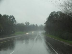 Onderweg in de stortregen