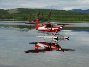 Watervliegtuig op Twin Lakes