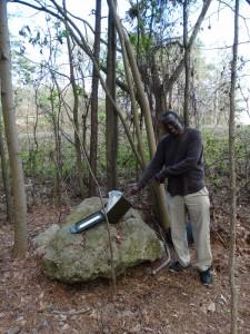 Samen met Les, een local de cache gevonden