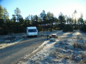 Bevroren grond op de White Spar campground