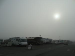 De zon komt maar niet door de mist heen