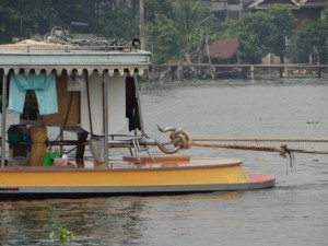 Houten slepers op de Chao Praya