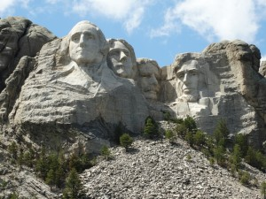 Washington, Jefferson, Roosevelt en Lincoln