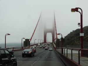 De Golden Gate brug  in de mist