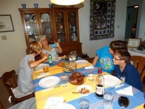 Marcia met dochter en kleinzoons
